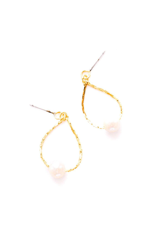 Dainty Pearl Chain Drop Pierced Earrings