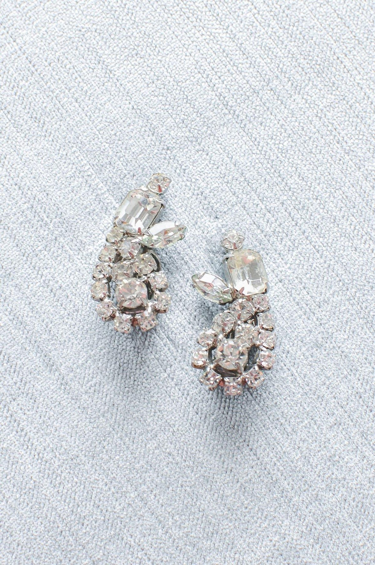 Vintage Rhinestone Crawler Clip-on Bridal Earrings from Sweet & Spark