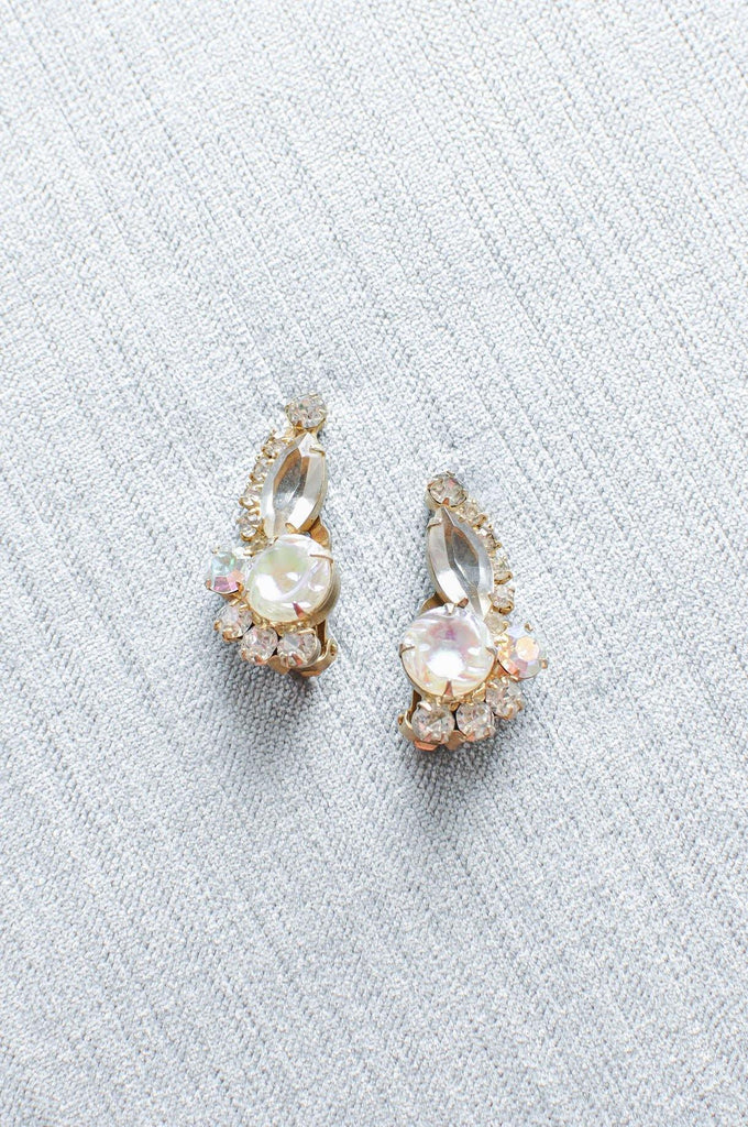Opal Rhinestone Crawler Clip-on Earrings