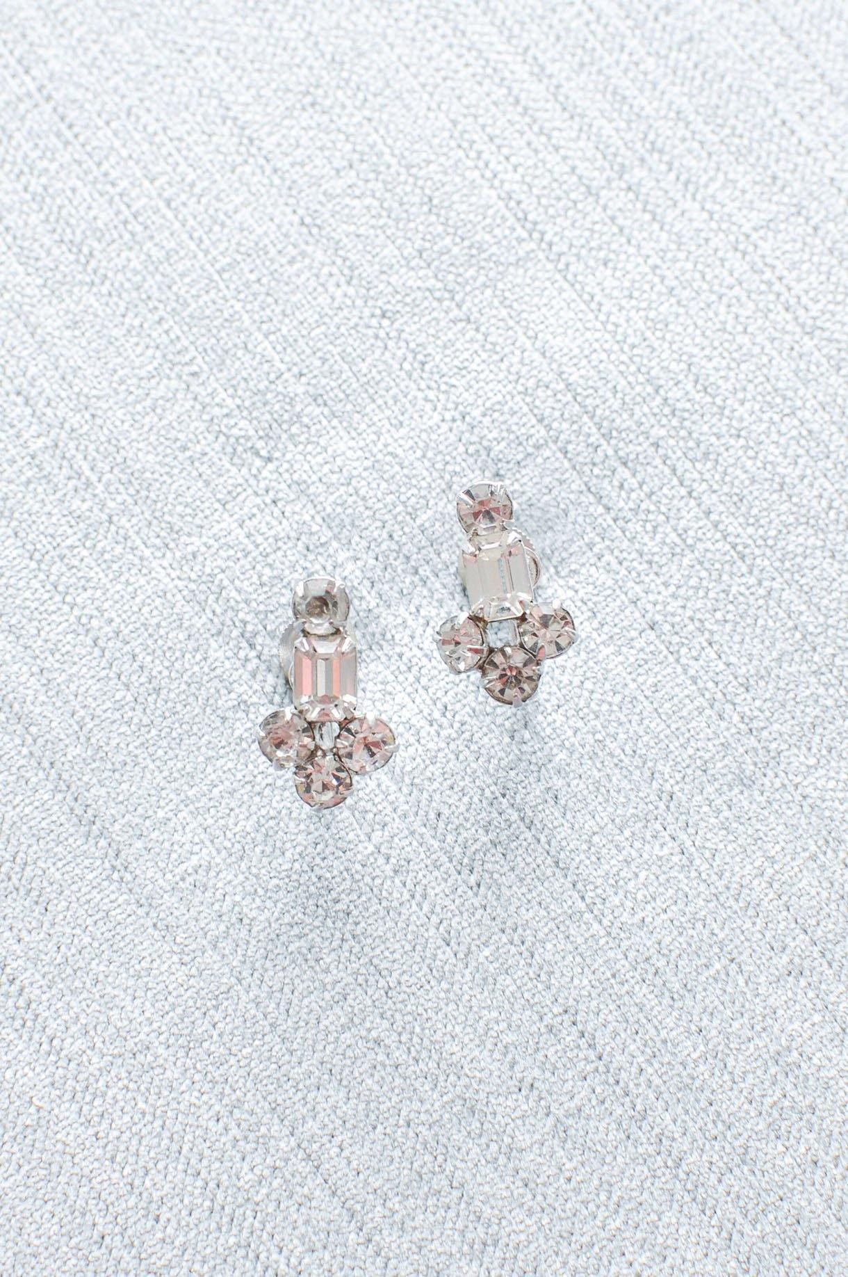 Dainty Rhinestone Clip-on Earrings