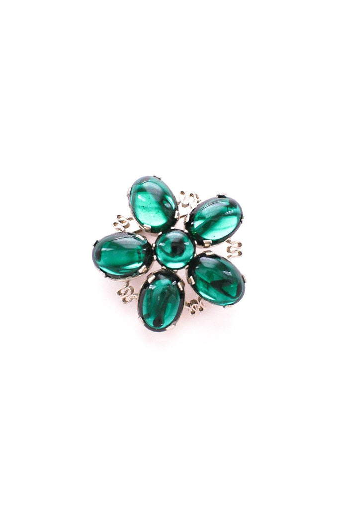 Emerald Green Floral Brooch