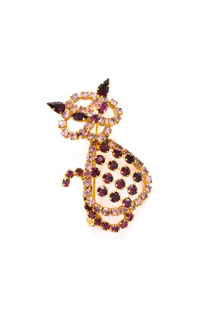 Purple Rhinestone Cat Brooch