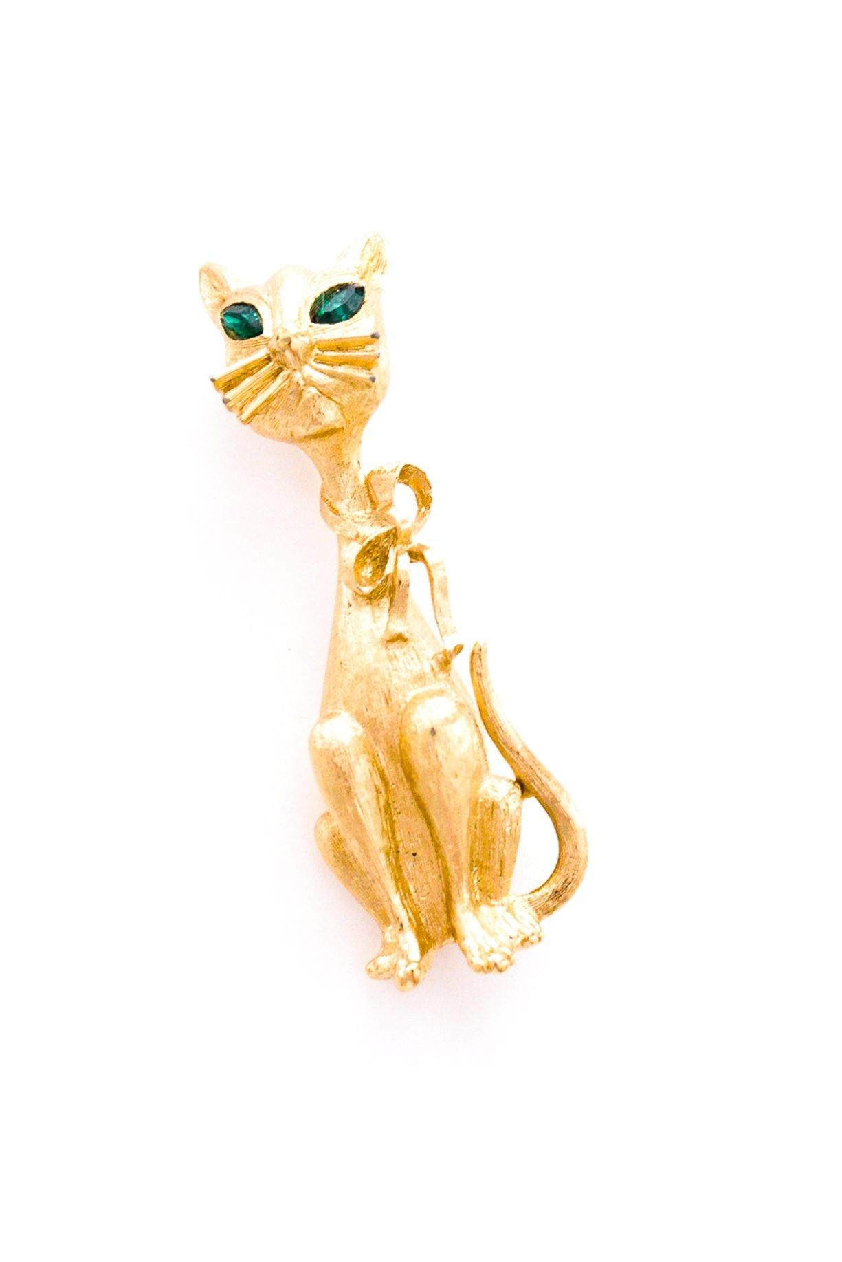 Green Eyed Cat Brooch