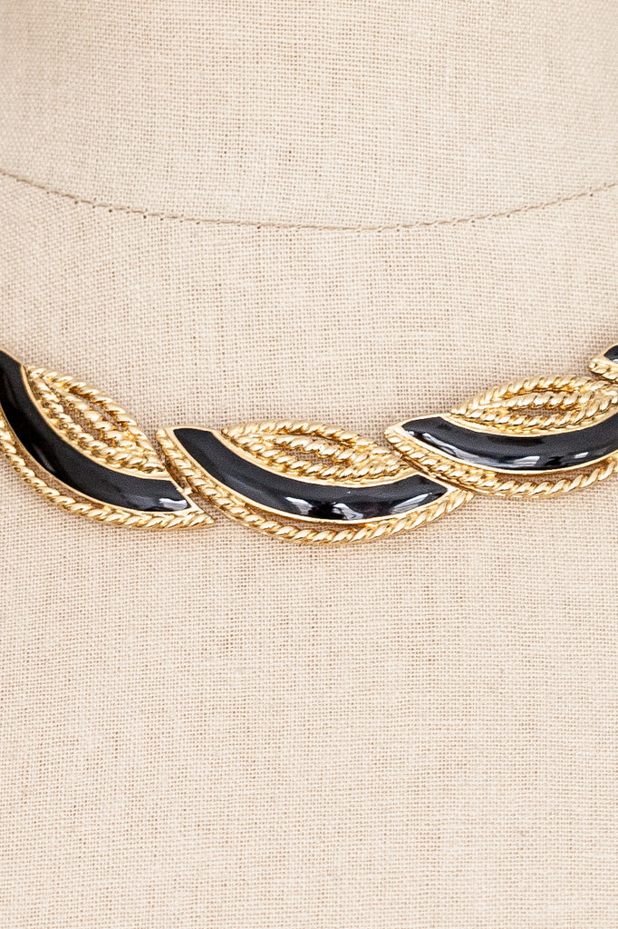 80's__Trifari__Black Statement Necklace