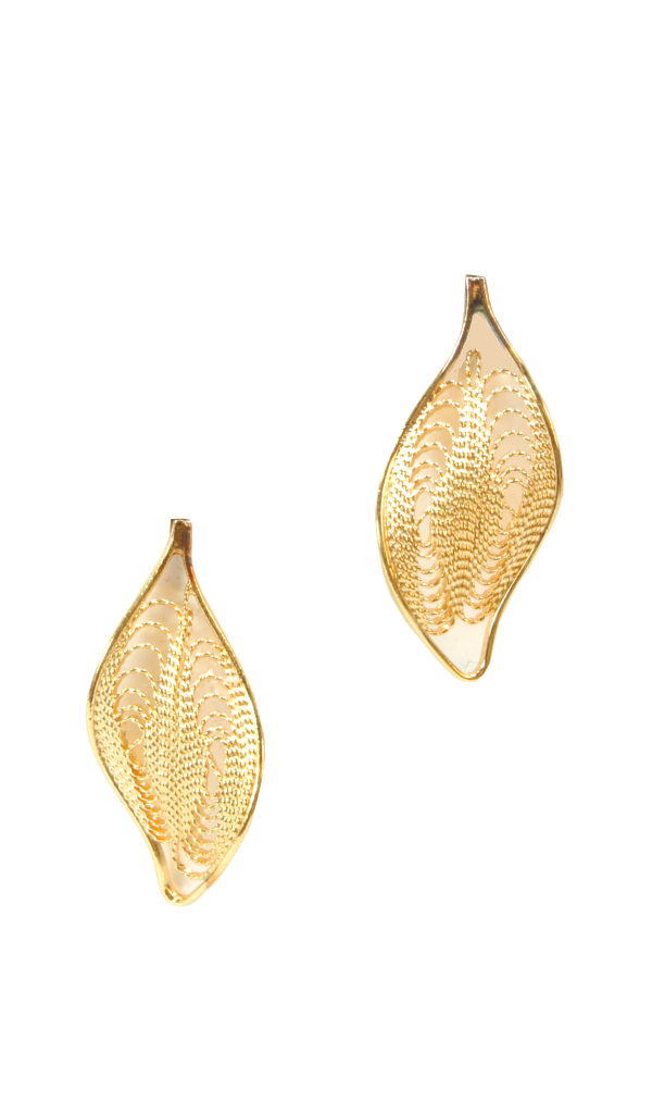 80's__Vintage__Lace Leaf Earrings