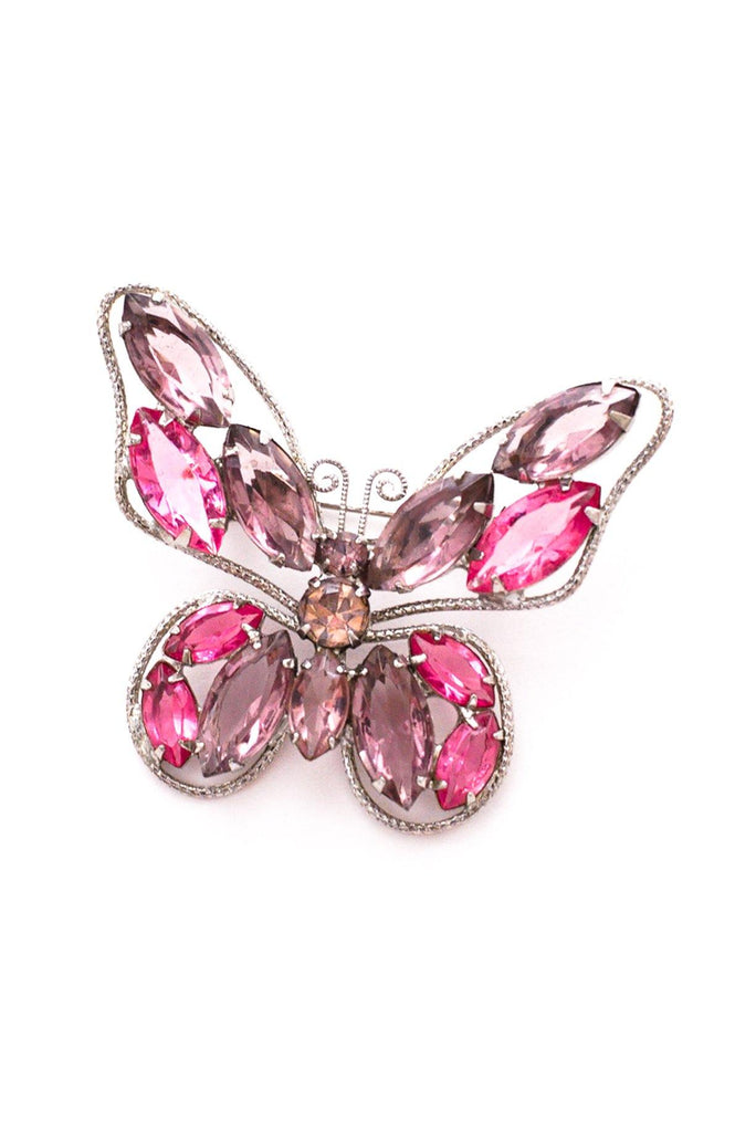 Pink & Purple Rhinestone Butterfly Brooch