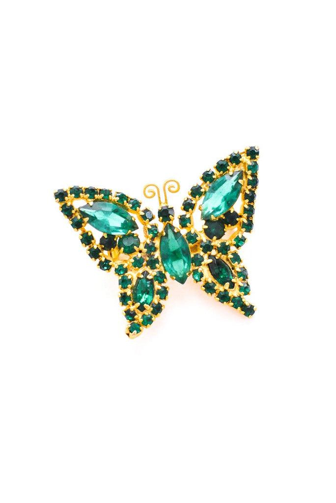 Emerald Green Rhinestone Butterfly Brooch
