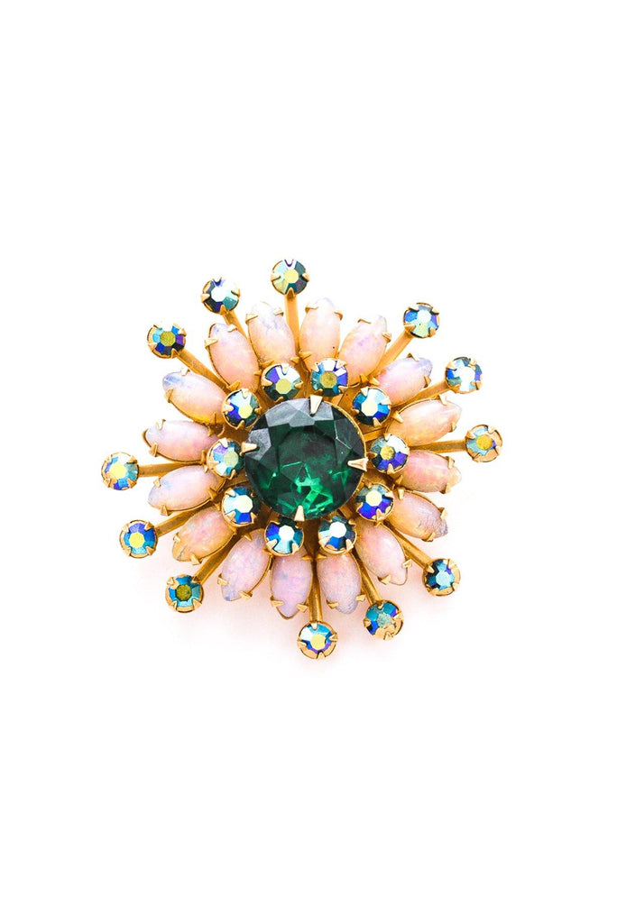 Pink & Green Burst Brooch