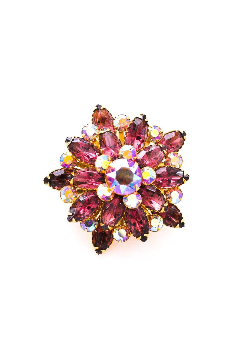Purple Rhinestone Burst Brooch