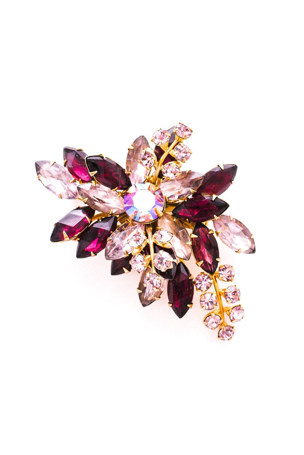 Purple Floral Rhinestone Brooch