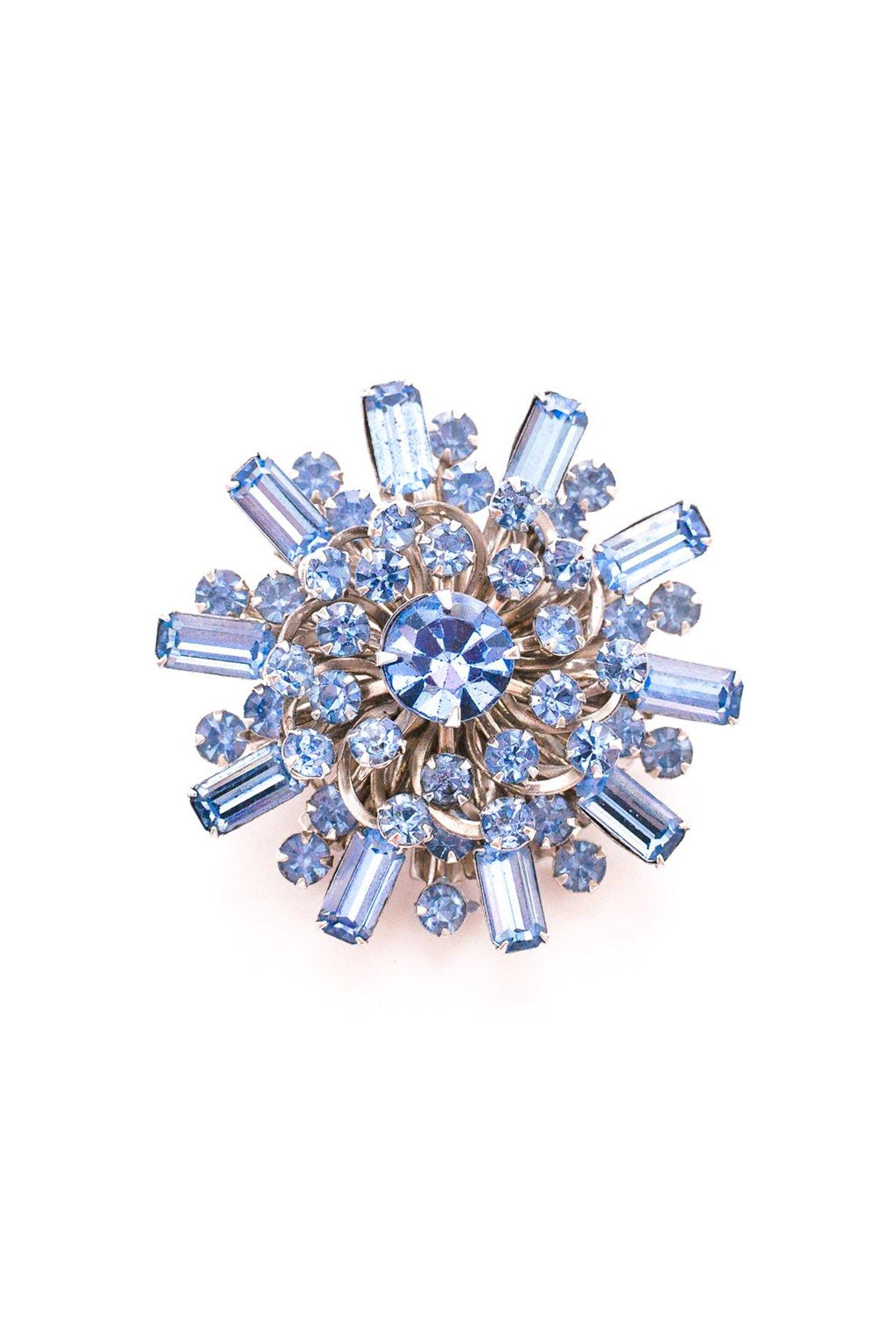 Blue Rhinestone Burst Brooch