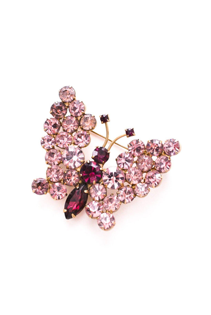 Purple Rhinestone Butterfly Brooch