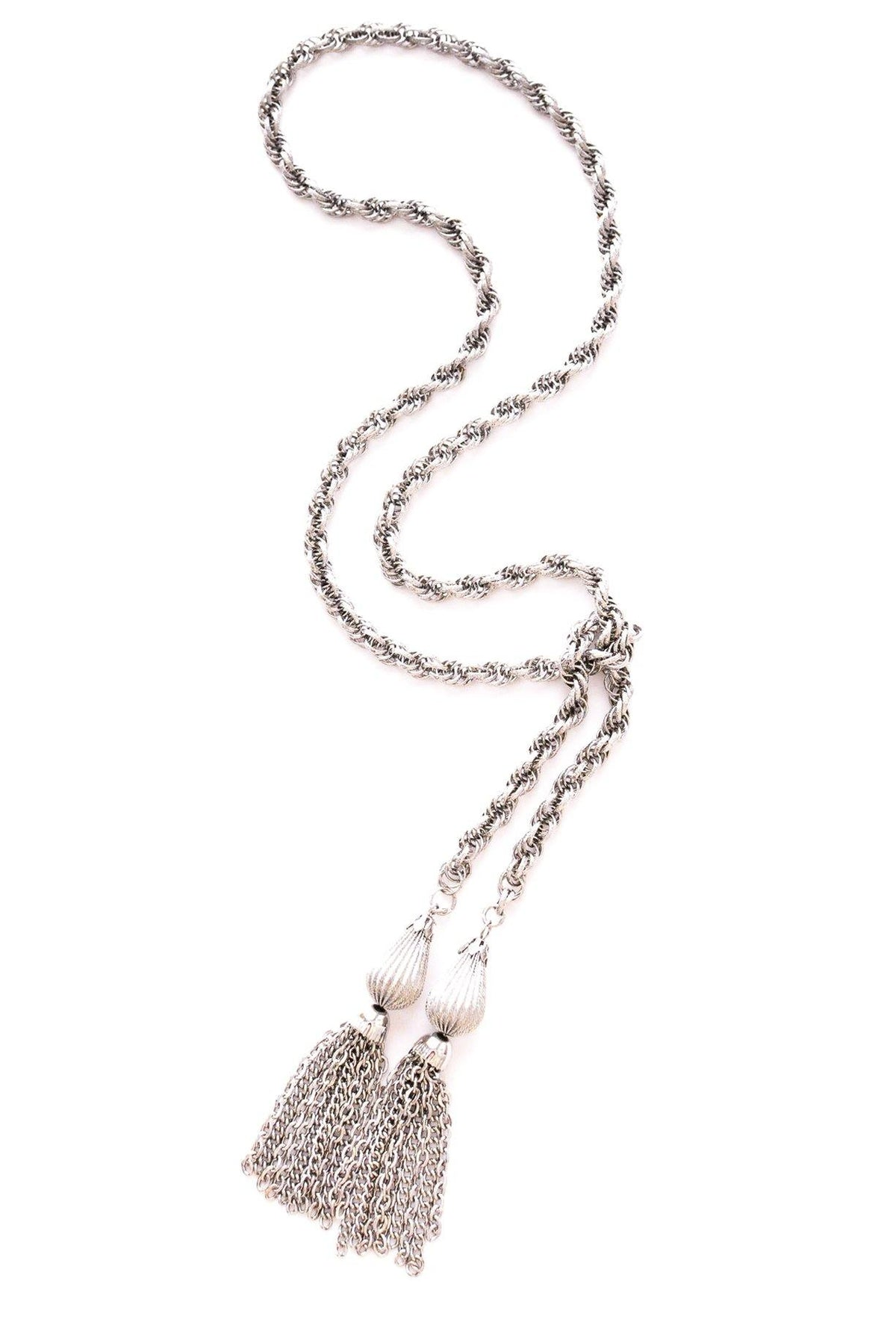 Vintage silver lariat necklace from Sweet & Spark.