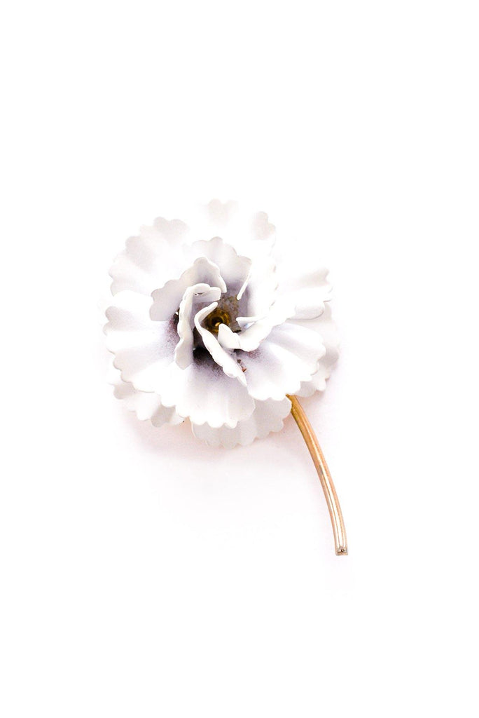 White Floral Stem Brooch