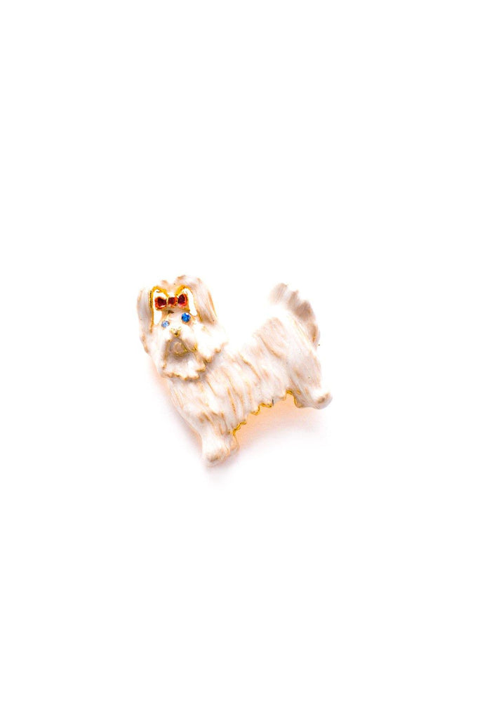 White Terrier Brooch