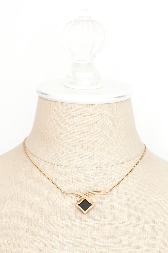 60's__Sarah Coventry__Black Bar Necklace
