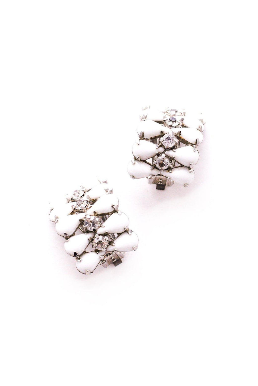 Milk Glass Crawler Clip-On Earrings
