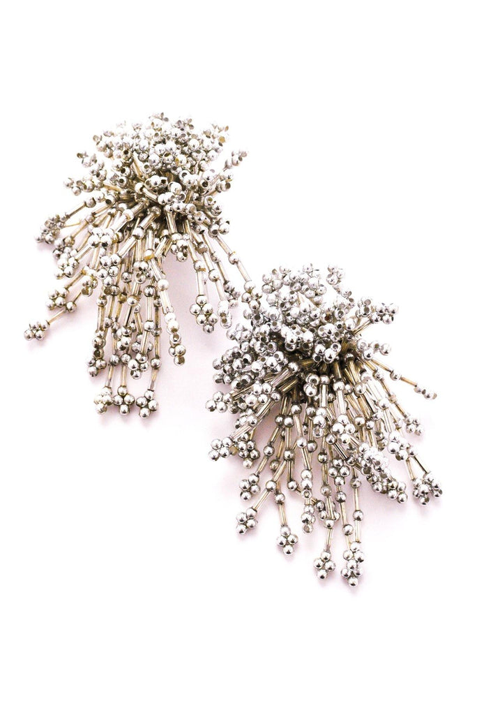 Silver Confetti Statement Clip-on Earrings