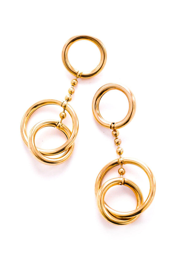 Drop Chain Hoop Pierced Earrings