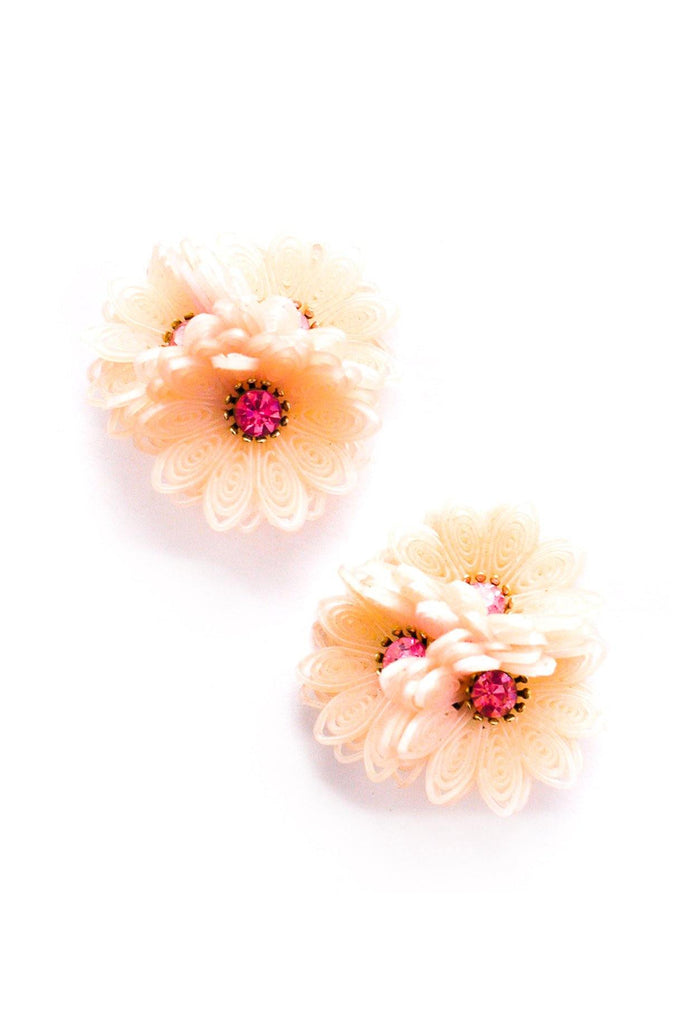 Peach Floral Cluster Clip-On Earrings