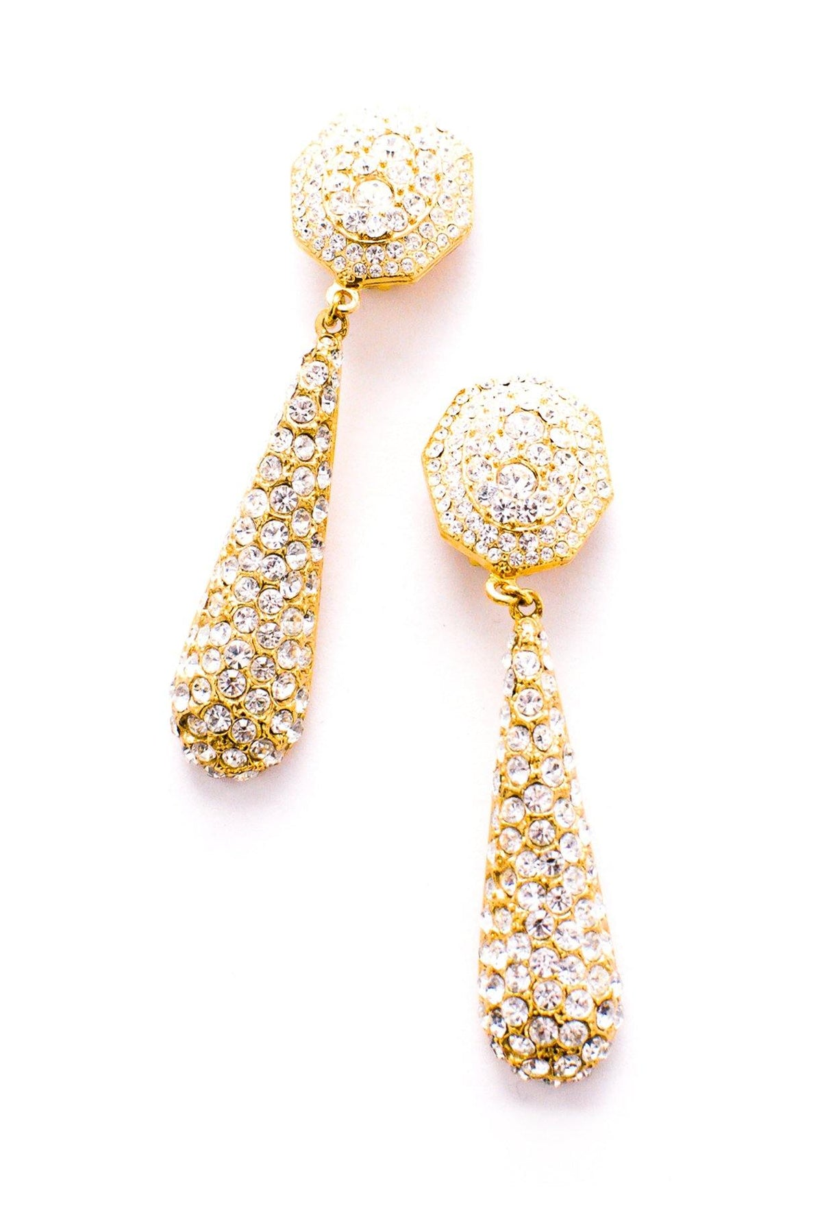Vintage Rhinestone Statement Drop Clip-On Earrings from Sweet & Spark
