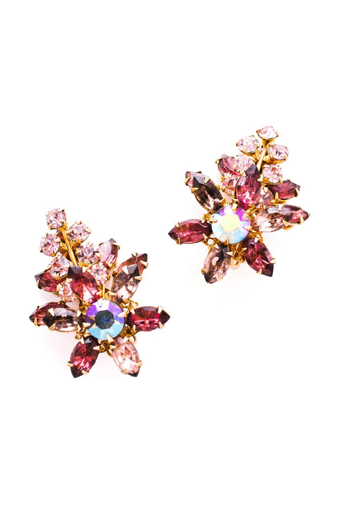 Purple Rhinestone Crawler Clip-On Earrings