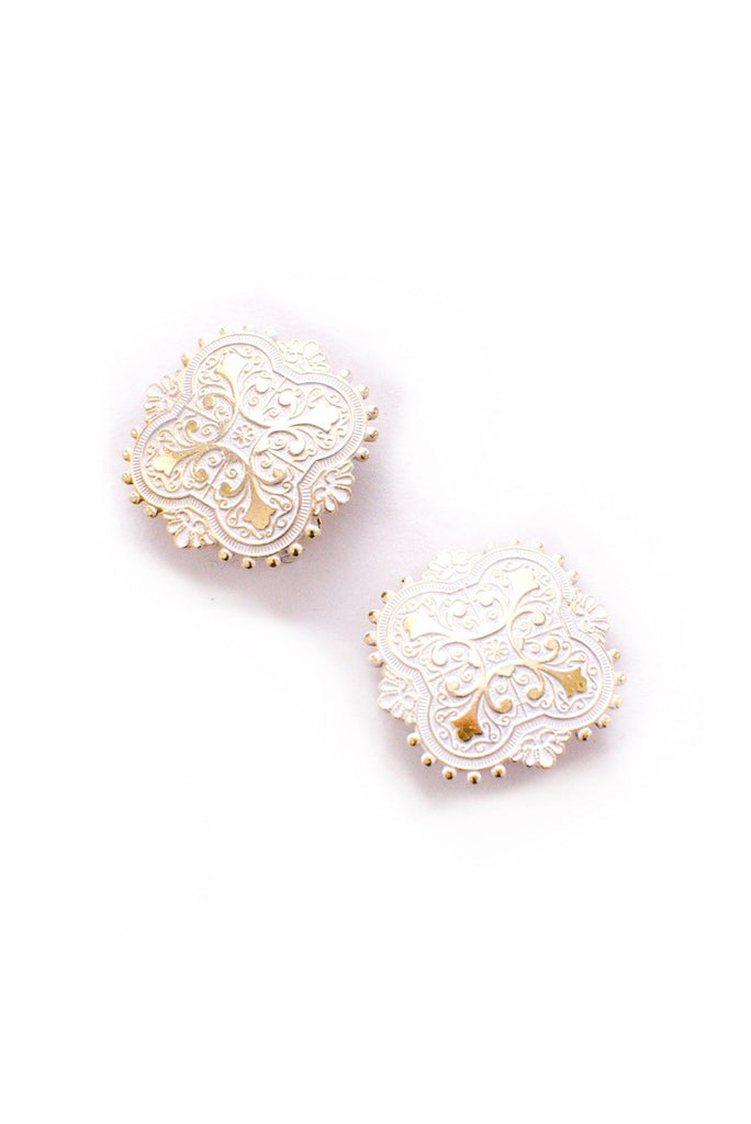 White Enamel Clip-On Earrings