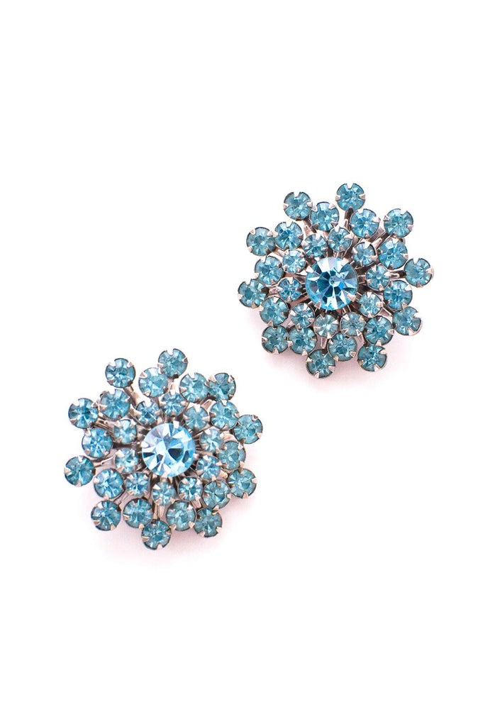 Turquoise Blue Rhinestone Clip-On Earrings