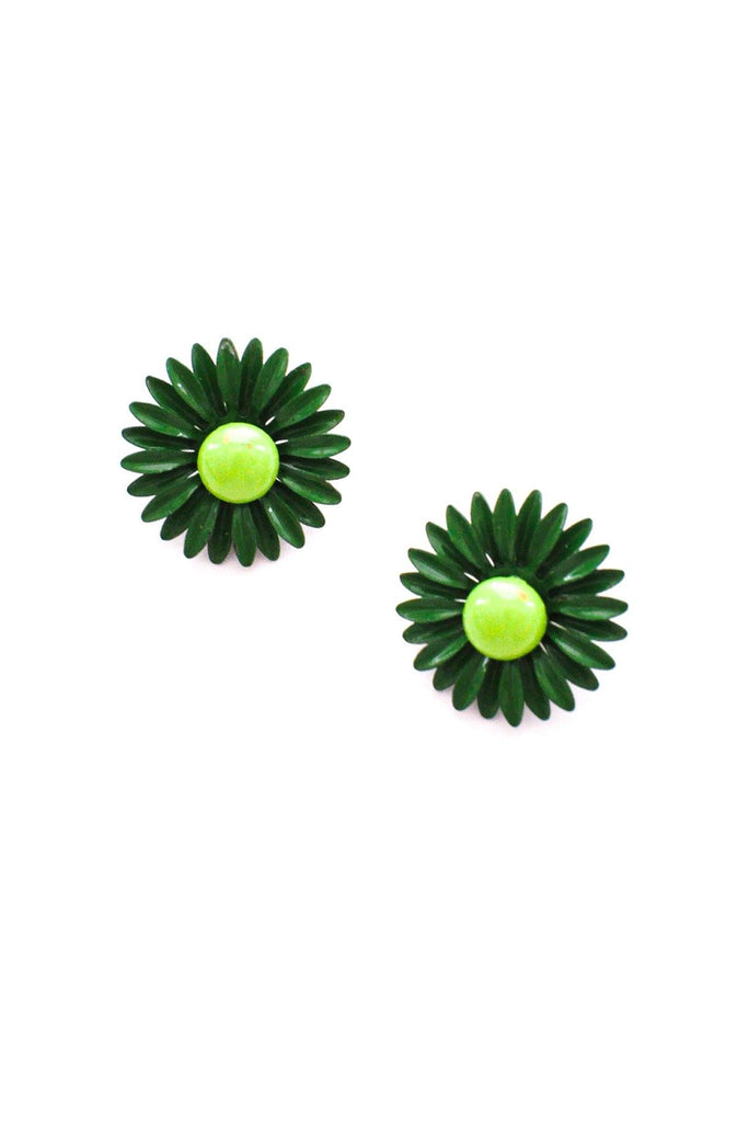 Green Floral Enamel Clip-On Earrings