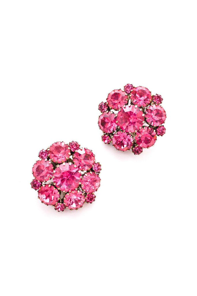 Pink Rhinestone Burst Clip-On Earrings