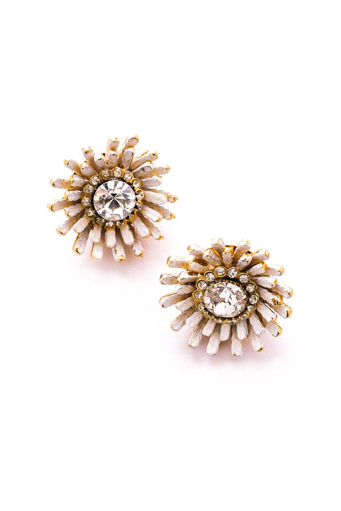 White Burst Clip-On Earrings