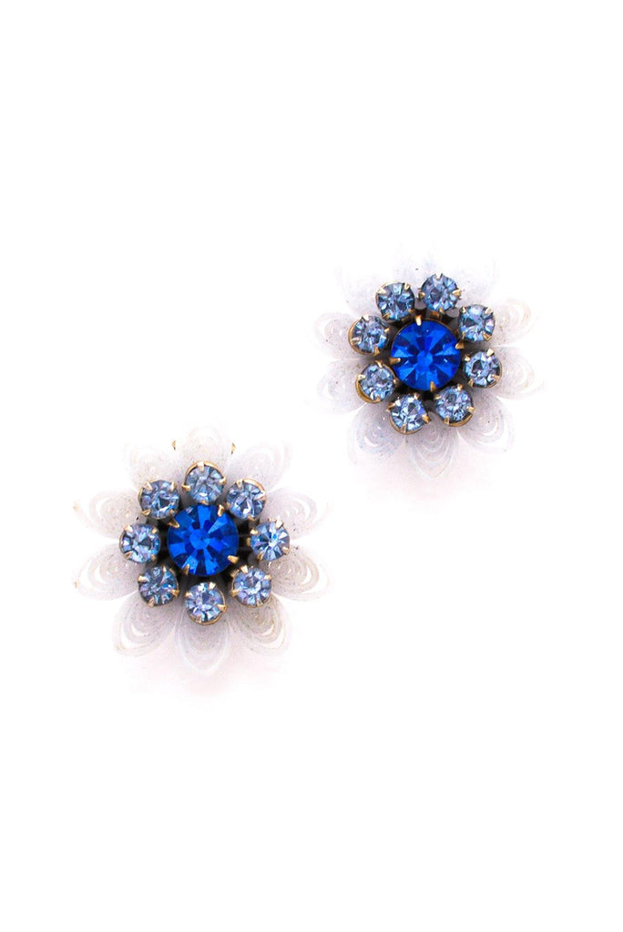 Blue Floral Statement Clip-On Earrings