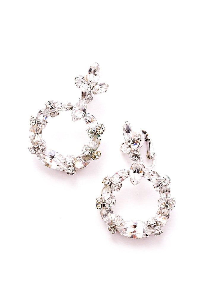 Rhinestone Hoop Clip-On Earrings