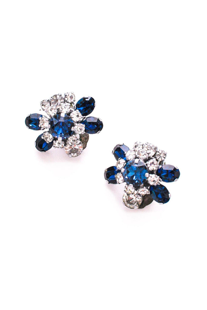 Navy Blue Rhinestone Clip-On Earrings