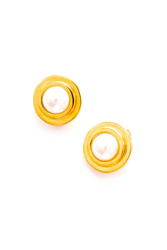 Pearl Disc Statement Clip-On Earrings
