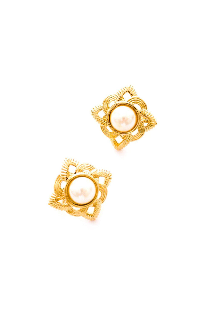 Pearl Diamond Clip-On Earrings