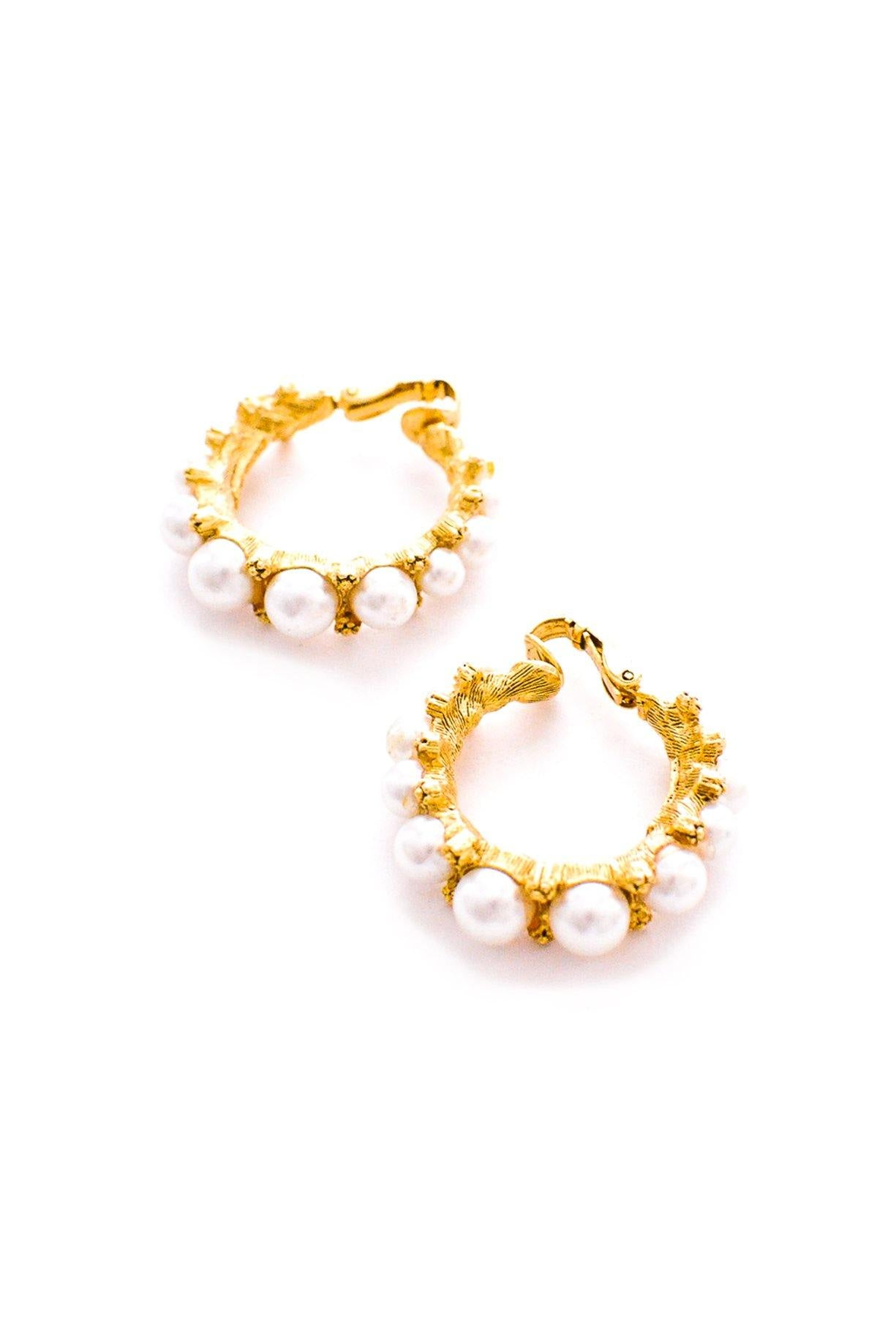 Vintage Florenza pearl hoop earrings from Sweet & Spark.