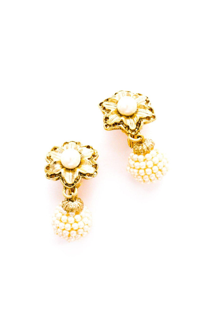 Pearl Floral Drop Clip-On Earrings