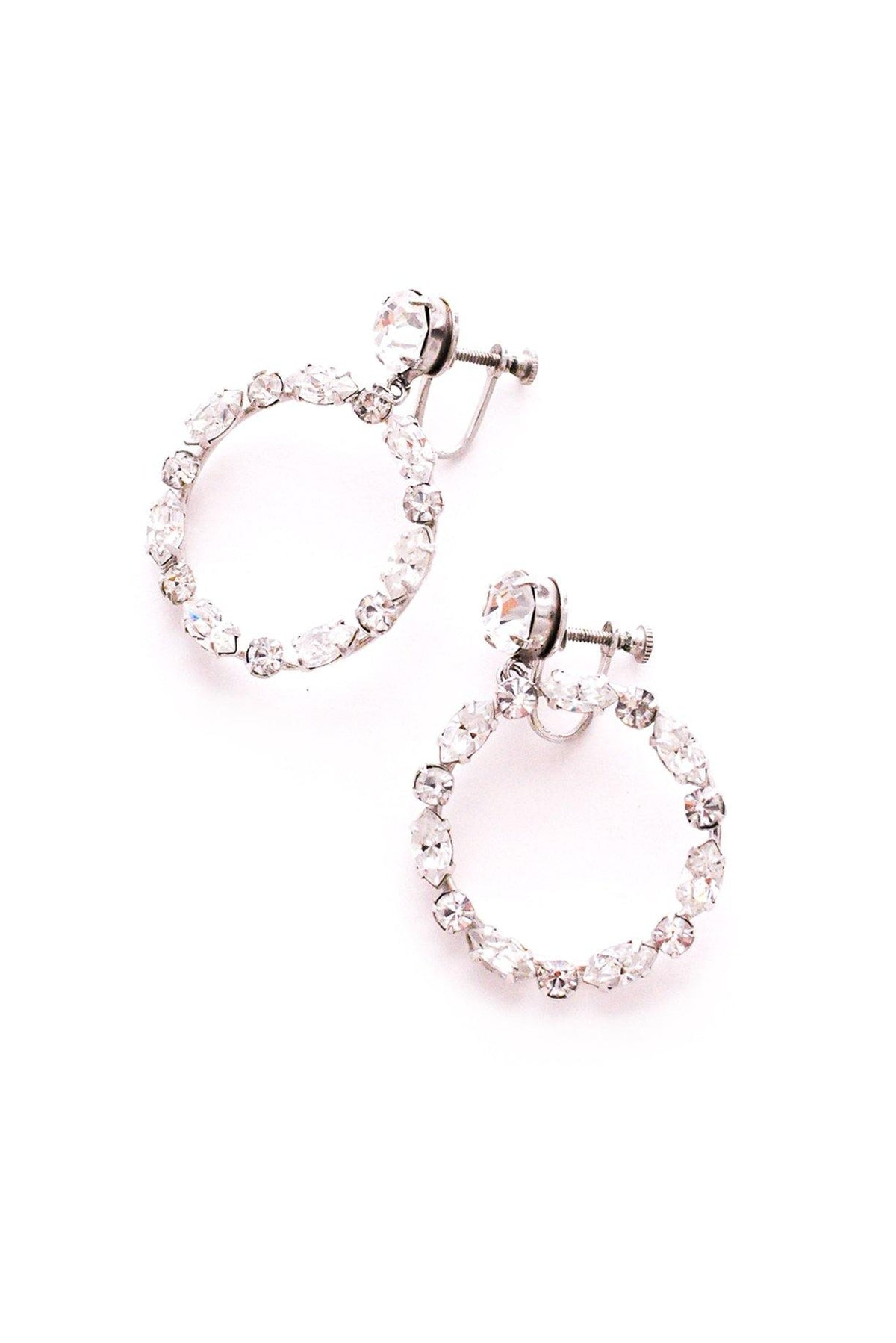 Vintage rhinestone hoop earrings from Sweet & Spark.
