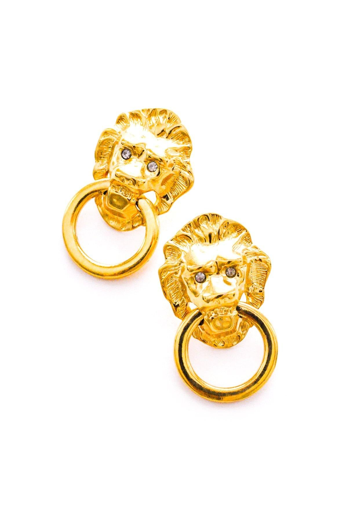 Lion Head Door Knocker Pierced Earrings