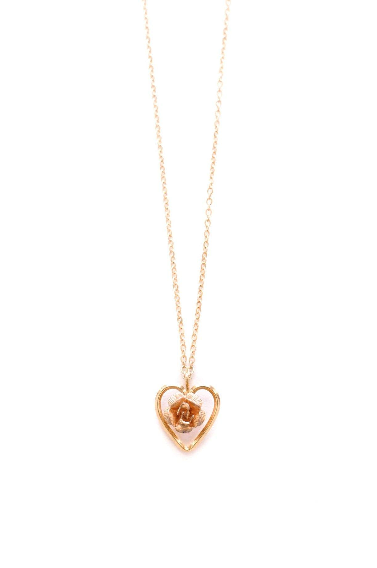 Vintage Dainty Rose Heart Necklace from Sweet & Spark