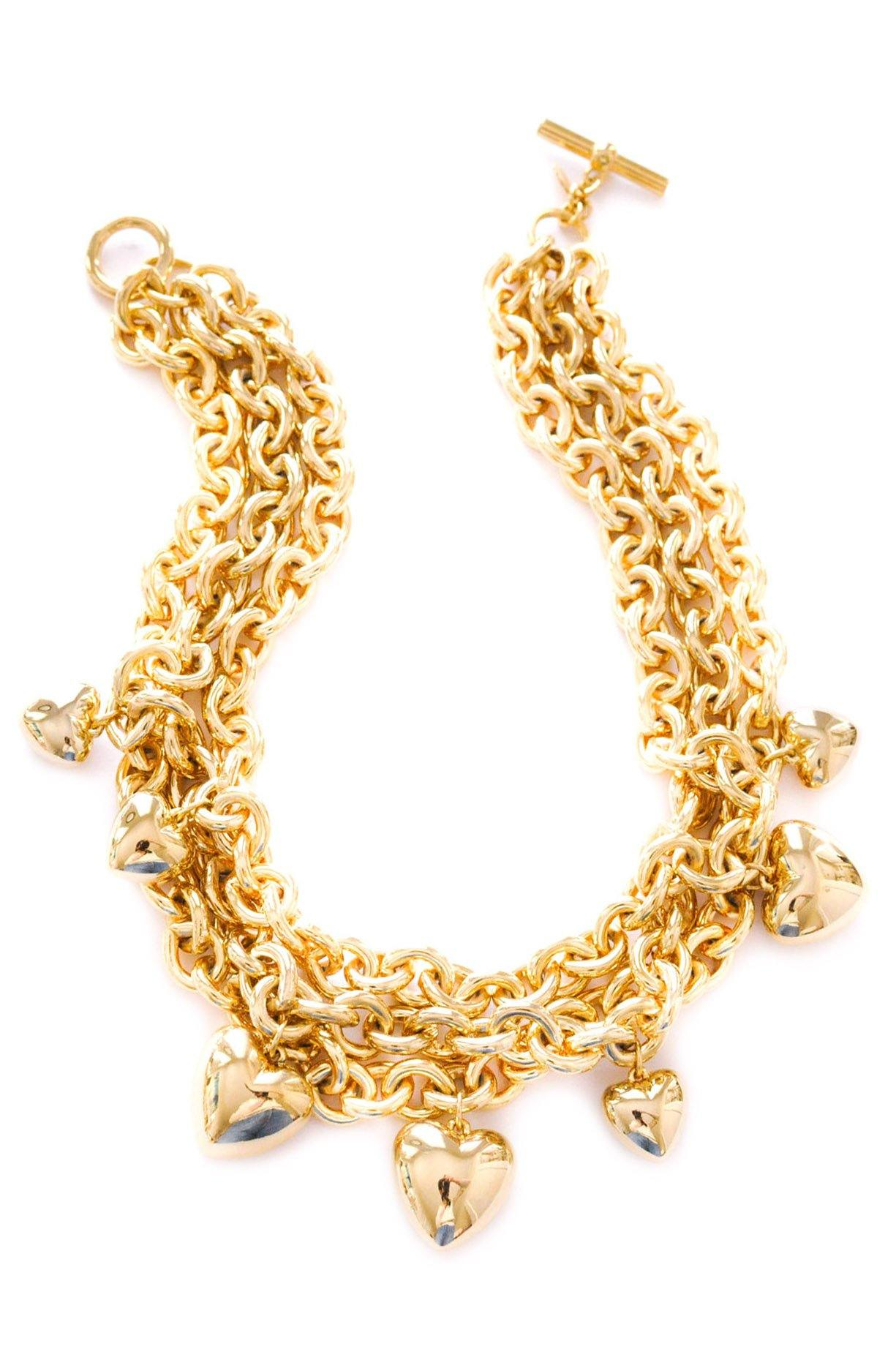 Vintage Joan Rivers Gold Chunky Heart Statement Necklace from Sweet & Spark
