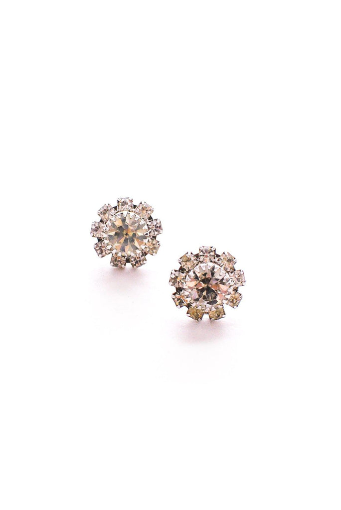 Rhinestone Floral Pierced Earrings