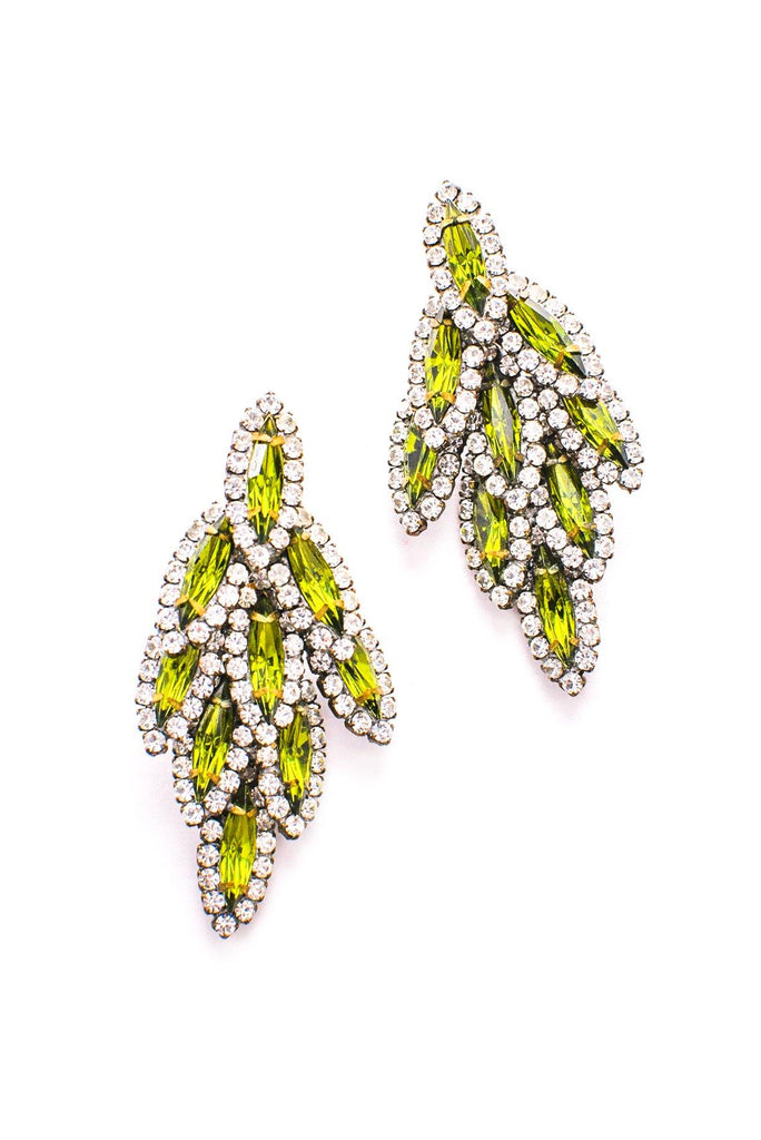 Green Rhinestone Fringe Pierced Earrings