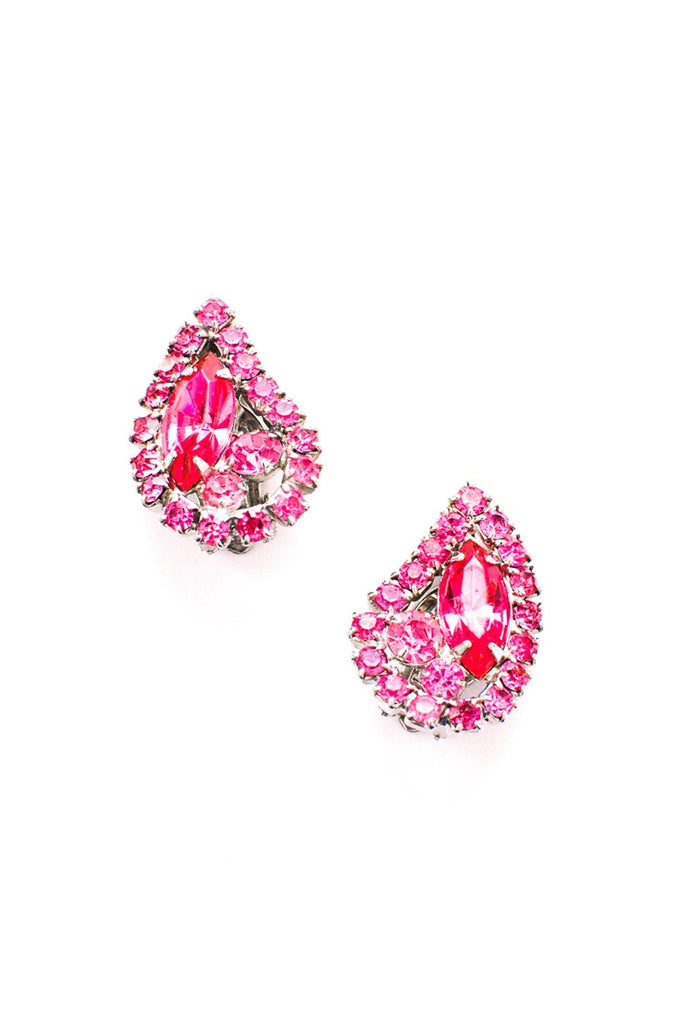 Pink Rhinestone Paisley Clip-on Earrings