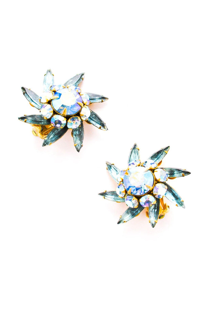 Rhinestone Pinwheel Clip-on Earrings