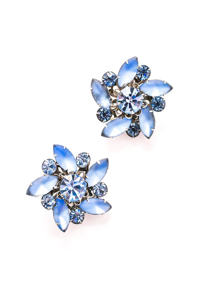 Blue Rhinestone Swirl Clip-on Earrings