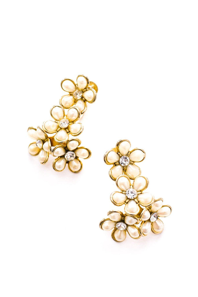 Floral Cluster Drop Clip-on Earrings