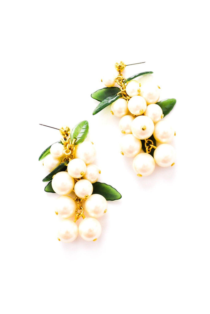 Pearl & Leaves Drop Pierced Earrings