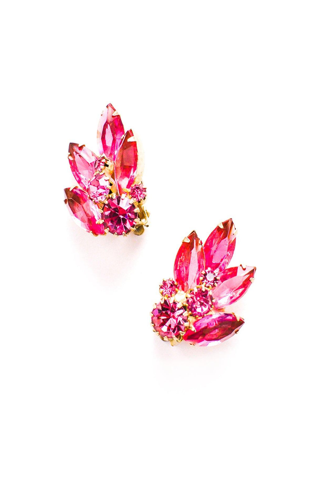 Pink Rhinestone Crawler Clip-on Earrings